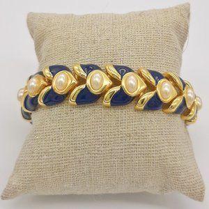 Joan Rivers Enamel Navy & Gold Laurel Bracelet